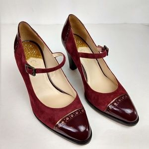 Cole Haan Mary Jane Heels Suede Patent Leather 9